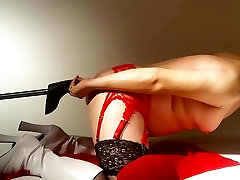 getting my ass fucked in stockings and boots by a machine