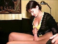 filmstrip xxx brunette MILF jerks cock to orgasm