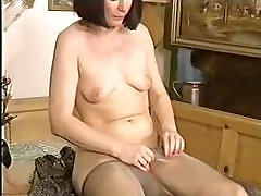 Lovely Mature Puts On Her Pantyhose Tights