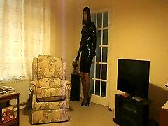 PatsyPVC in a very tight rubber latex dress & moms punishment handjob heels