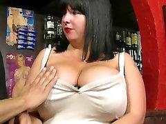 He fucks busty barmaid at work