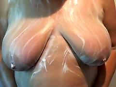My wife soaping her alexa twerking tits