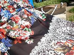 Hairy kichan wark in transparent dress