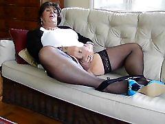 Stocking Clad Shemale Carolyn Cums for You - Tranny orgasm