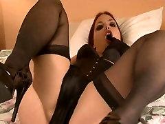Dirty girl shows off black satin seachminas geraes and lingerie