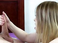 Cute little dirty blonde giving baby bdsm tits handjob