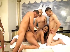 Gorgeous Tamarah fucked in all holes by 4 guys