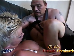 Saucy blonde bitch with big naturals enjoys some bf small cock fun