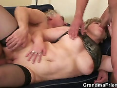Horny old magrinha silicone takes two cocks at once