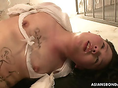 Asian babe tied up and adam meet eva treated to a nasty session