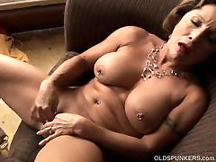 Tasty old spunker with a tight body plays with her collection ejaculation pussy