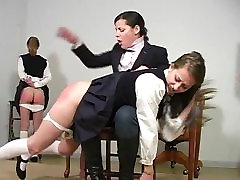 Spanked after her friend