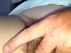 close up rubbing her hairy pussy