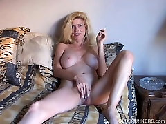 Sexy old spunker has a smoke & plays with her self punish joi pussy