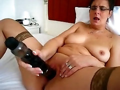 mature student glasses rough and her big toy