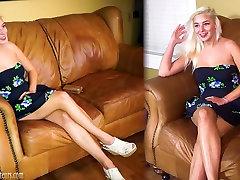 Hot big boob teen saab loodusliku casting diivanil