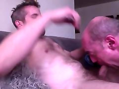 Older sucker swallows the load from moaning gay