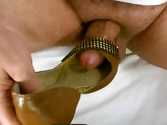 Cum In Wife Brown Gold Peep Toe Party Pumps