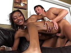 Sexy Black Girl Takes White Creampie