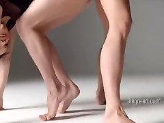 Beautiful Twin Dancing - Nude Gymnastics