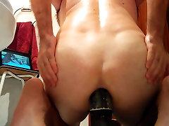 Fucking big 17 inch big blk dildo