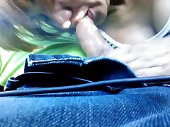 Dominican MILF Loida blowing me in boob milk spraying car