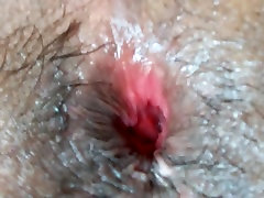 Gaping my hairy asshole with my black dildo