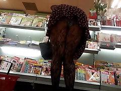 Teen upskirt sexy ass stocking pantyhose