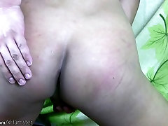 Filipino tranny with big balls strokes hairy cock in closeup
