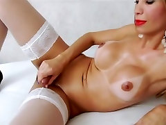 Sexy beautiful Shemale In Panties And Stockings Solo