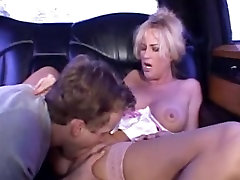 Blonde mature milf in stockings fucks in a threesome MC