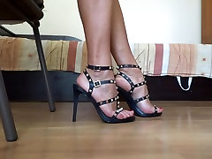 Show off my sexy xxxvideo at beach heel sandals and shoe play red nails