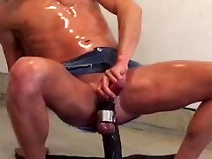 Squirting while riding black dildo in skirt