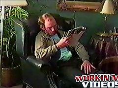 Mature hairy dude Gene jerks his hard prick while home alone