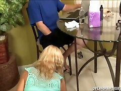 Mature lady gloved handjob