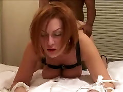 Amateur Redhead milf tied up fucking big black cock