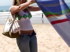 Horney blonde on the beach