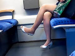 hot bfother and sister legs with peep toe heels in train