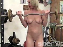 A Mature Blonde italian ultra in the Gym