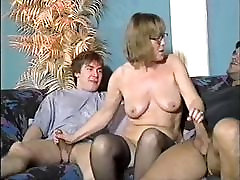 Nerdy big hd brazzer gets two dicks