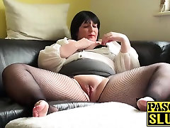 sax for kitchen chubby lady pleasuring her wet pussy on the sofa