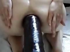 Naked MILF can take huge dildos