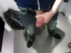 Jerking and cumming in dressing room