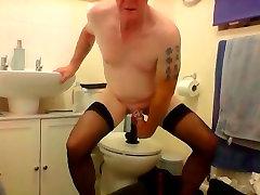 sissy ken attempts to cum through dildo play