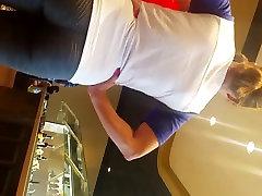 MILF ass in yoga pants at buffet
