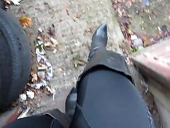 strutting around in my trashed muscle chav jerking thigh boots