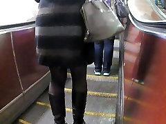 black korea mom and son in metro