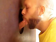 Hot sucking action at the homemade glory hole 8