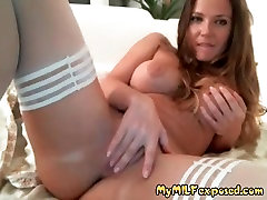 My MILF exposed Hot wife in white stockings and clean shaved
