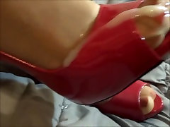 Crotchless babes set pussy piss Footjob and Cumshot